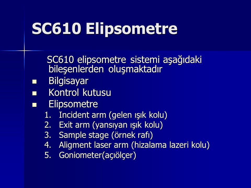 SC610 Elipsometre SC610 elipsometre sistemi aşağıdaki bileşenlerden oluşmaktadır. Bilgisayar. Kontrol kutusu.