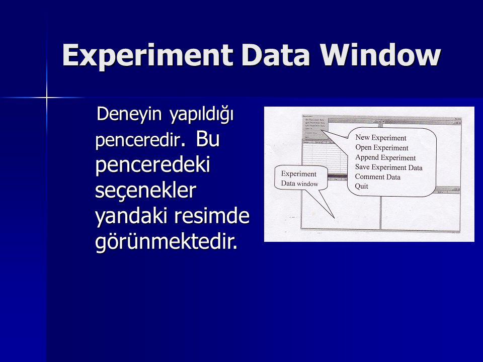 Experiment Data Window