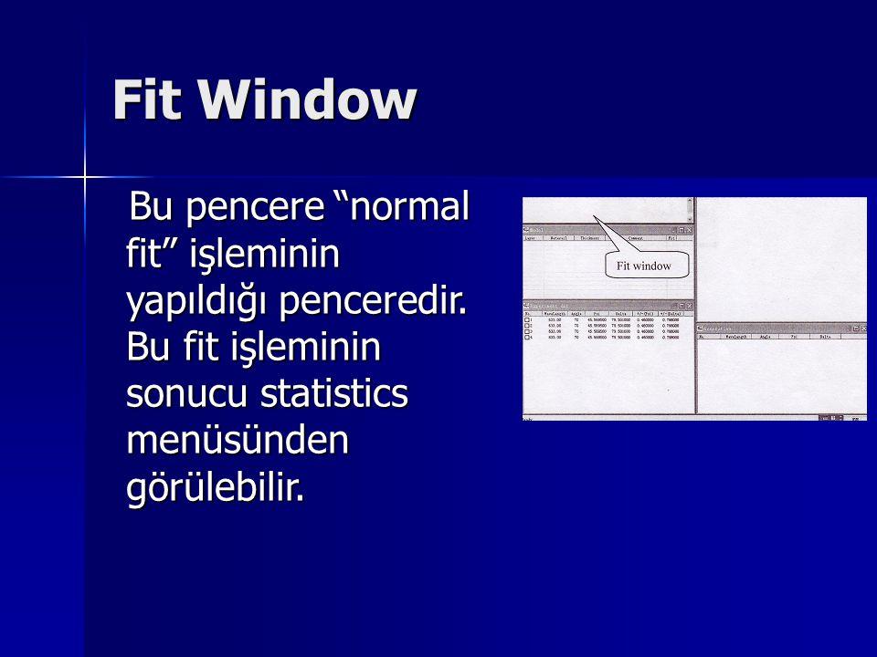 Fit Window Bu pencere normal fit işleminin yapıldığı penceredir.