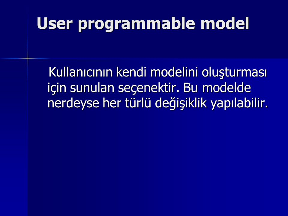 User programmable model