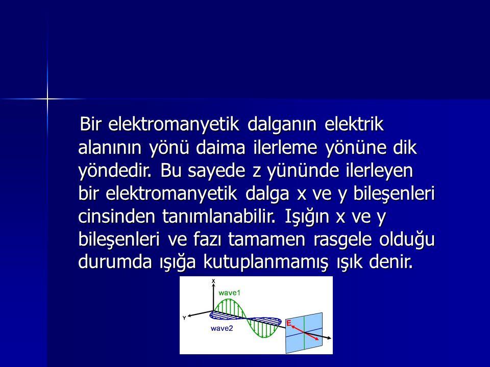 Bir elektromanyetik dalganın elektrik alanının yönü daima ilerleme yönüne dik yöndedir.