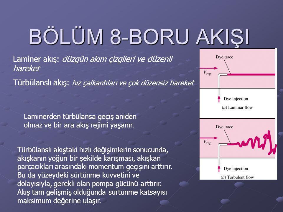 BÖLÜM 8-BORU AKIŞI Laminer akış: düzgün akım çizgileri ve düzenli hareket. Türbülanslı akış: hız çalkantıları ve çok düzensiz hareket.