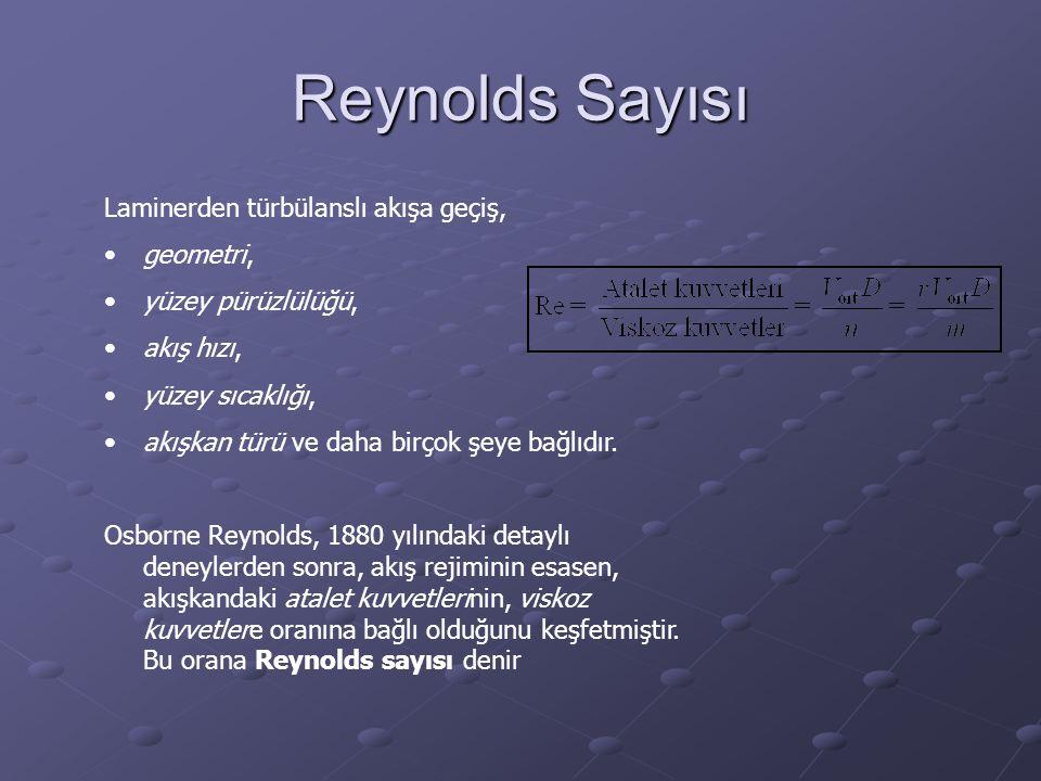 Reynolds Sayısı Laminerden türbülanslı akışa geçiş, geometri,