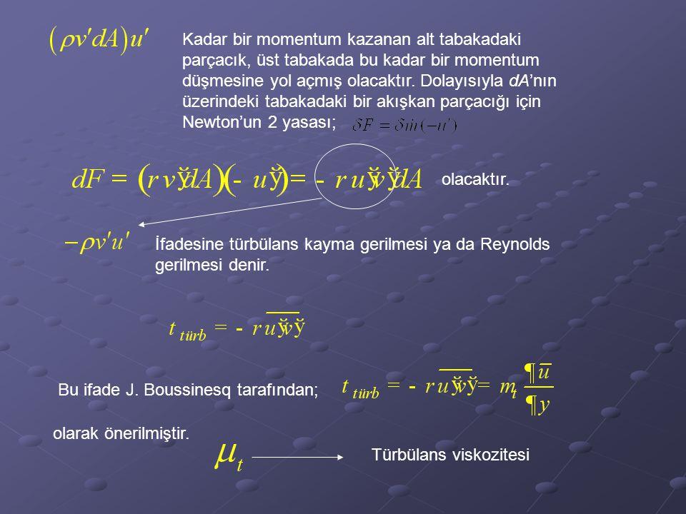 Kadar bir momentum kazanan alt tabakadaki parçacık, üst tabakada bu kadar bir momentum düşmesine yol açmış olacaktır. Dolayısıyla dA'nın üzerindeki tabakadaki bir akışkan parçacığı için Newton'un 2 yasası;