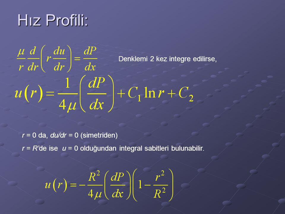 Hız Profili: Denklemi 2 kez integre edilirse,