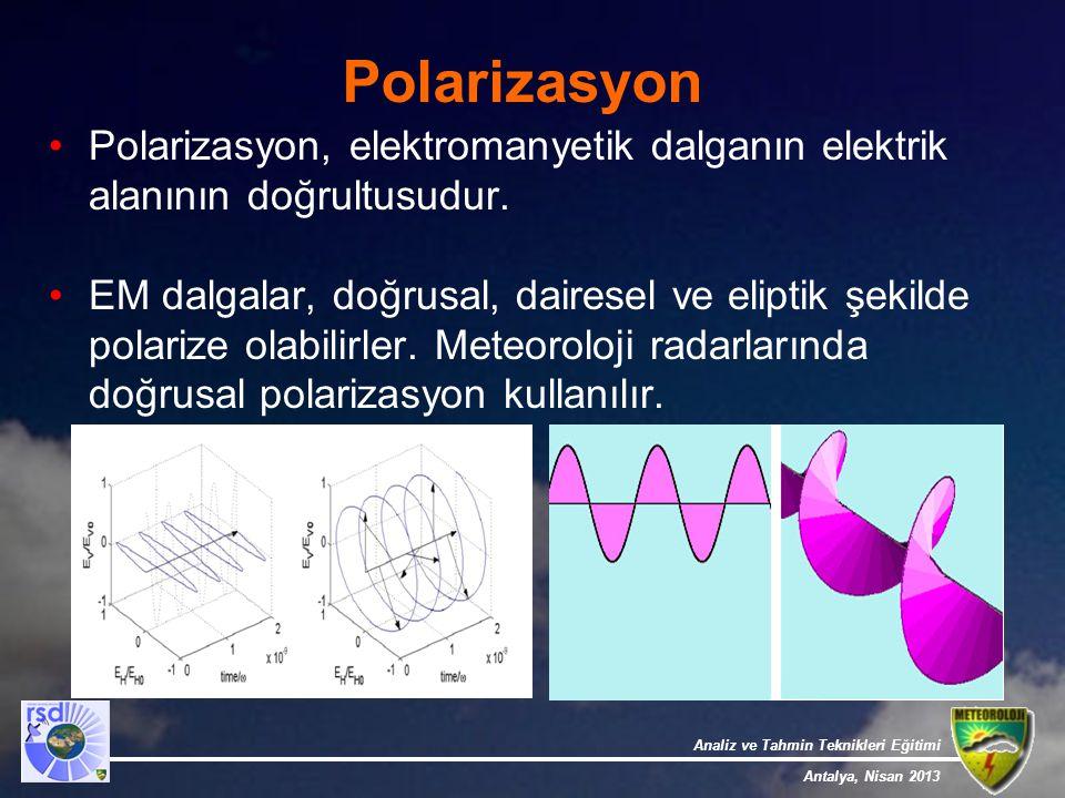 Polarizasyon Polarizasyon, elektromanyetik dalganın elektrik alanının doğrultusudur.