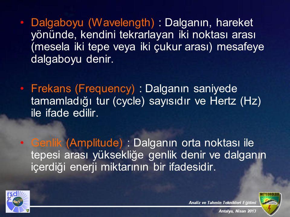 Dalgaboyu (Wavelength) : Dalganın, hareket yönünde, kendini tekrarlayan iki noktası arası (mesela iki tepe veya iki çukur arası) mesafeye dalgaboyu denir.