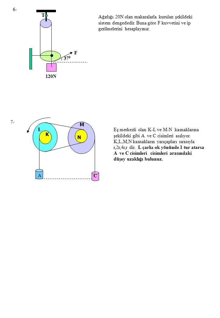 6- T. Ağırlığı 20N olan makaralarla kurulan şekildeki sistem dengededir. Buna göre F kuvvetini ve ip gerilmelerini hesaplayınız.