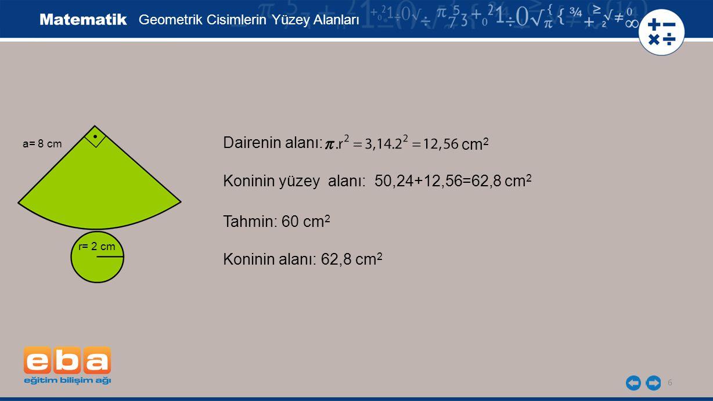 Koninin yüzey alanı: 50,24+12,56=62,8 cm2