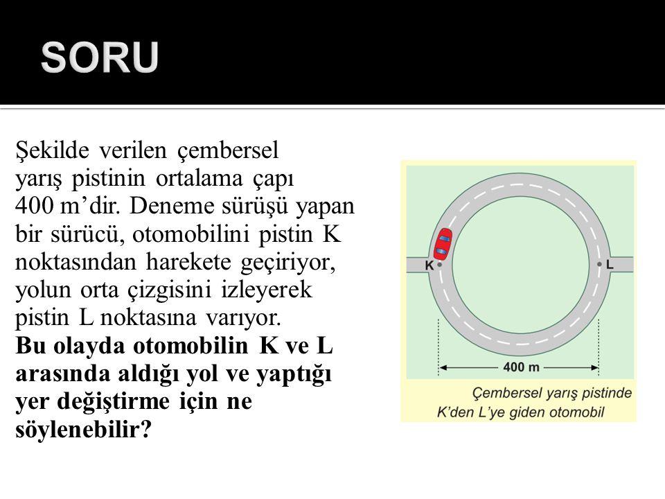 SORU Şekilde verilen çembersel yarış pistinin ortalama çapı