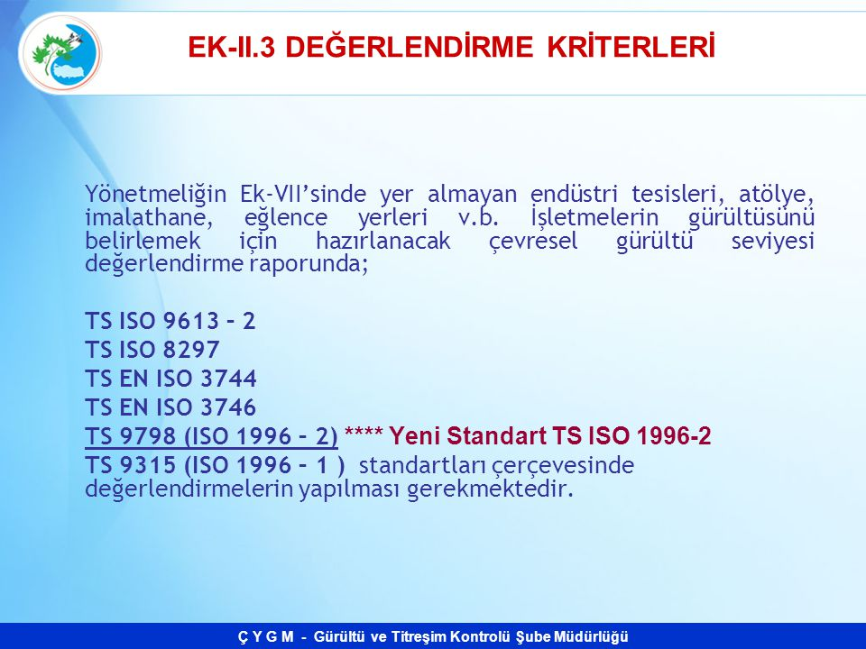 EK-II.3 DEĞERLENDİRME KRİTERLERİ
