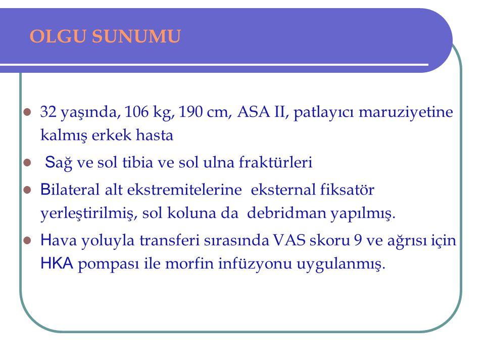 OLGU SUNUMU 32 yaşında, 106 kg, 190 cm, ASA II, patlayıcı maruziyetine kalmış erkek hasta. Sağ ve sol tibia ve sol ulna fraktürleri.