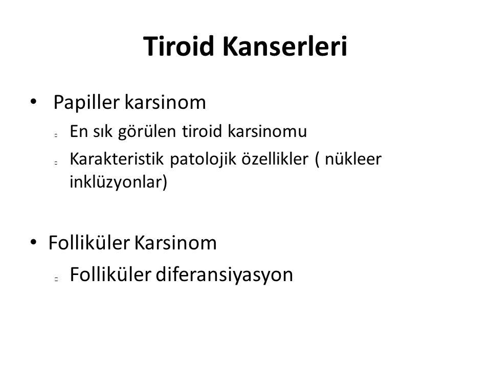 Tiroid Kanserleri Papiller karsinom Folliküler Karsinom