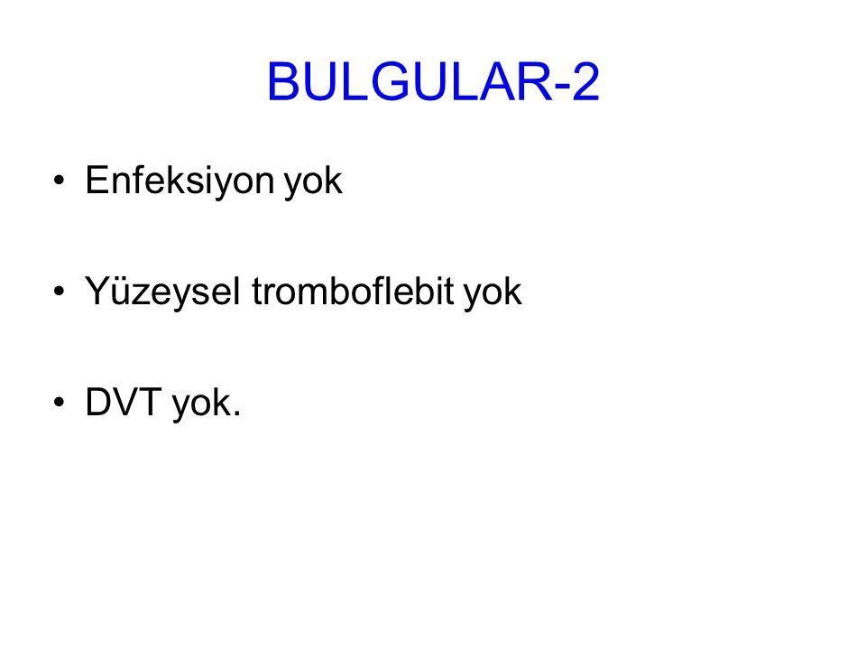 BULGULAR-2 Enfeksiyon yok Yüzeysel tromboflebit yok DVT yok.
