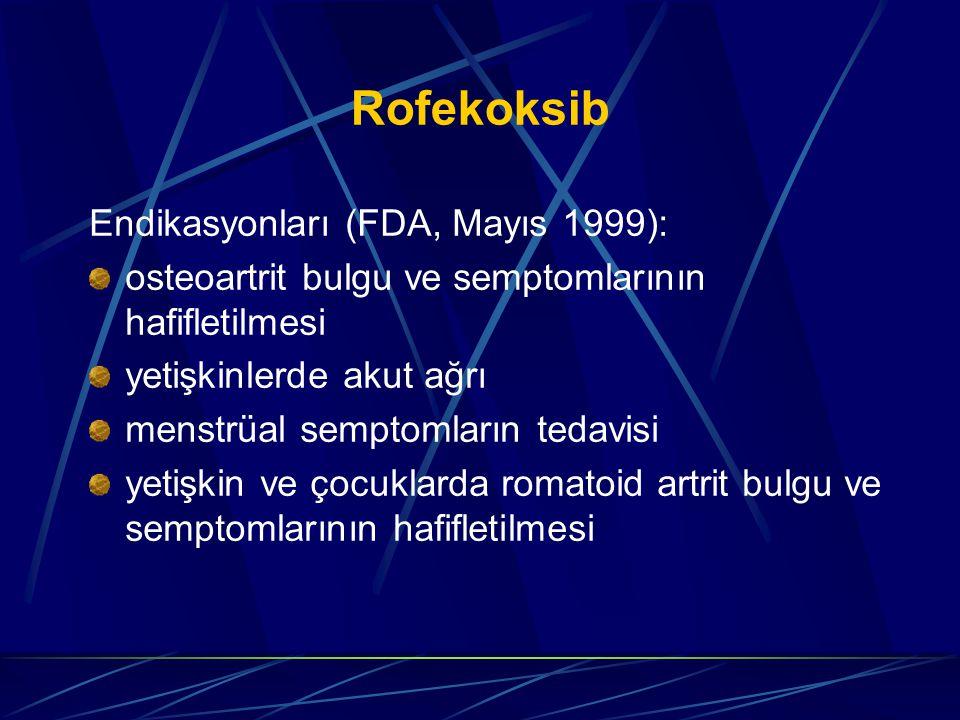 Rofekoksib Endikasyonları (FDA, Mayıs 1999):