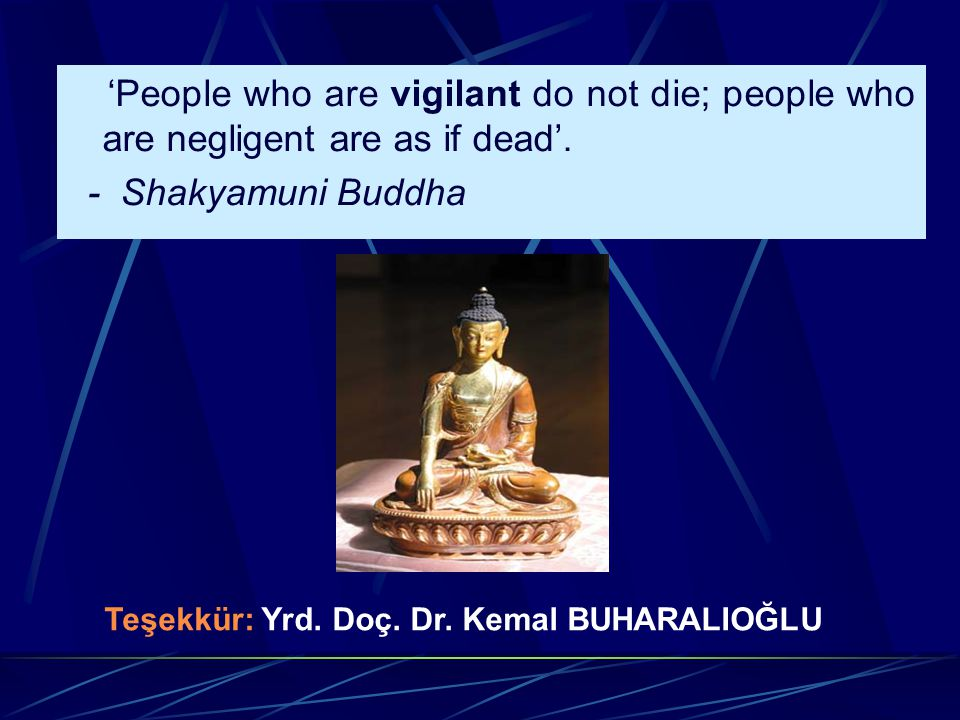 'People who are vigilant do not die; people who are negligent are as if dead'.