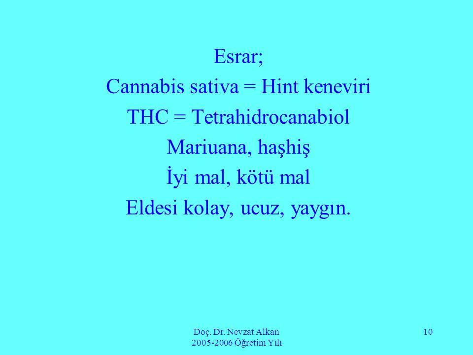 Cannabis sativa = Hint keneviri THC = Tetrahidrocanabiol
