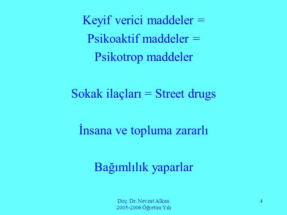 Keyif verici maddeler = Psikoaktif maddeler = Psikotrop maddeler
