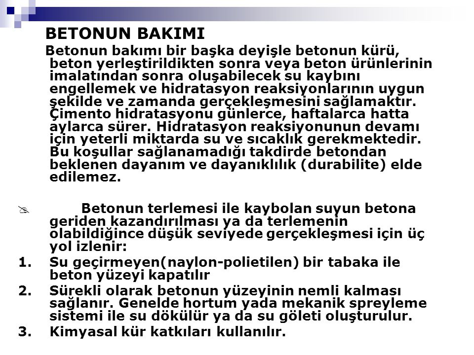 BETONUN BAKIMI