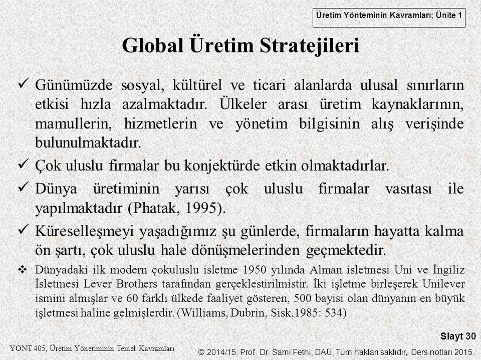 Global Üretim Stratejileri