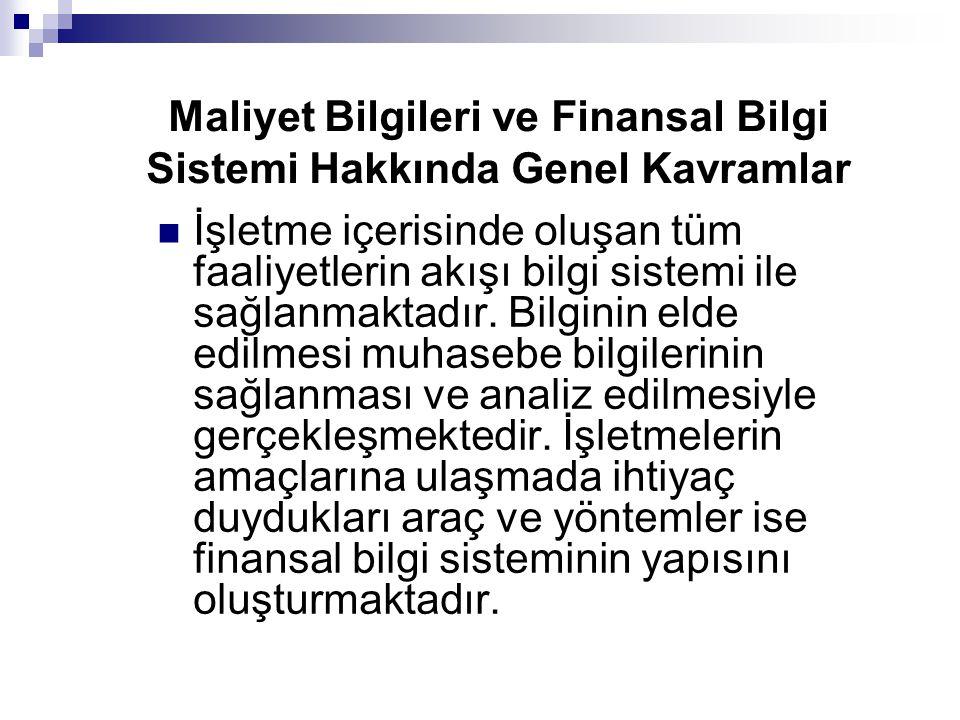 Maliyet Bilgileri ve Finansal Bilgi Sistemi Hakkında Genel Kavramlar