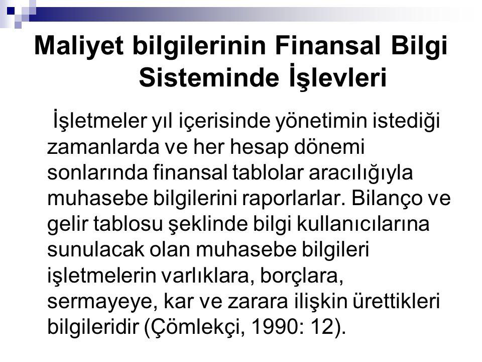 Maliyet bilgilerinin Finansal Bilgi Sisteminde İşlevleri