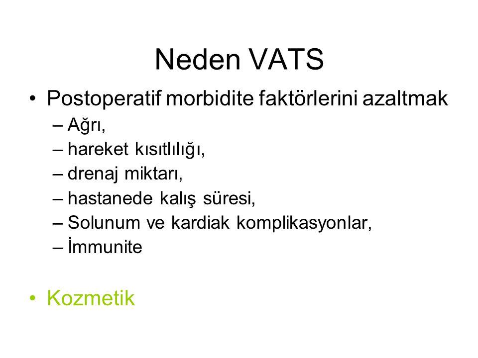 Neden VATS Postoperatif morbidite faktörlerini azaltmak Kozmetik Ağrı,