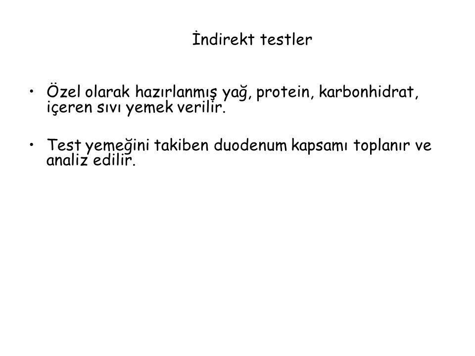 İndirekt testler Özel olarak hazırlanmış yağ, protein, karbonhidrat, içeren sıvı yemek verilir.