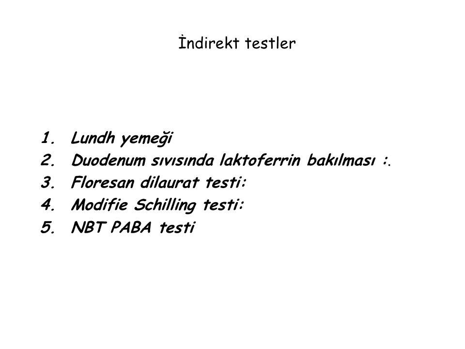 İndirekt testler Lundh yemeği. Duodenum sıvısında laktoferrin bakılması :. Floresan dilaurat testi: