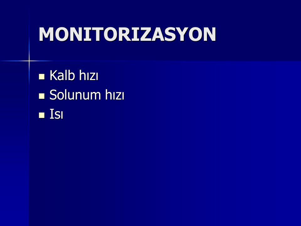 MONITORIZASYON Kalb hızı Solunum hızı Isı