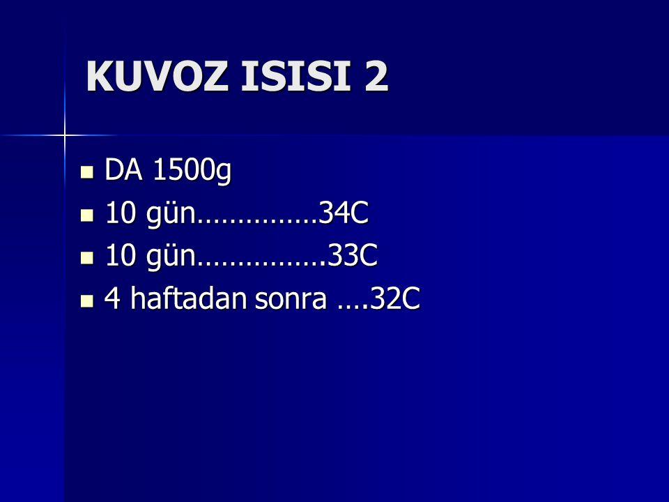 KUVOZ ISISI 2 DA 1500g 10 gün……………34C 10 gün…………….33C