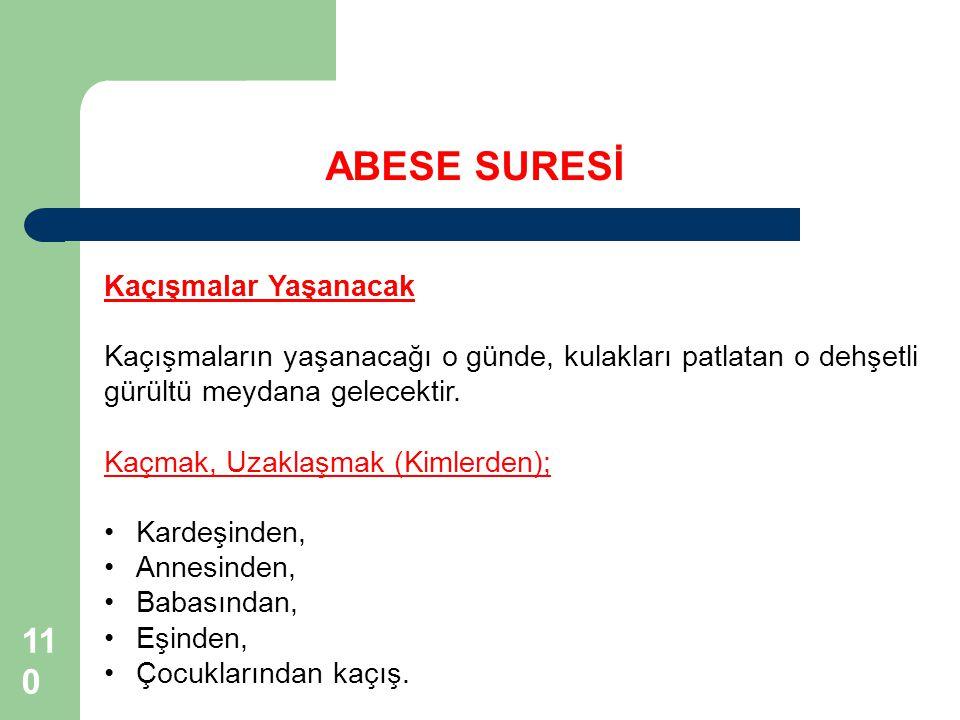ABESE SURESİ 110110 Kaçışmalar Yaşanacak