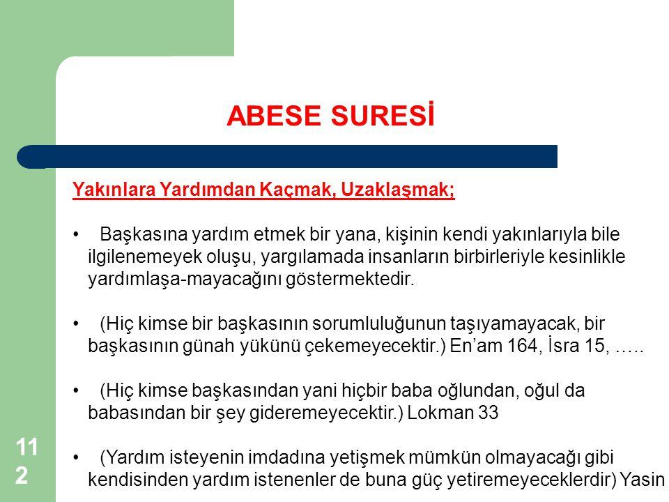 ABESE SURESİ 112112 Yakınlara Yardımdan Kaçmak, Uzaklaşmak;