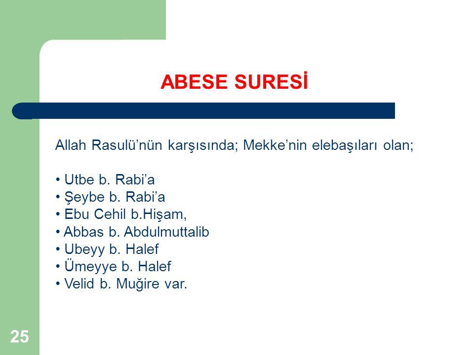 ABESE SURESİ Allah Rasulü'nün karşısında; Mekke'nin elebaşıları olan; Utbe b. Rabi'a. Şeybe b. Rabi'a.