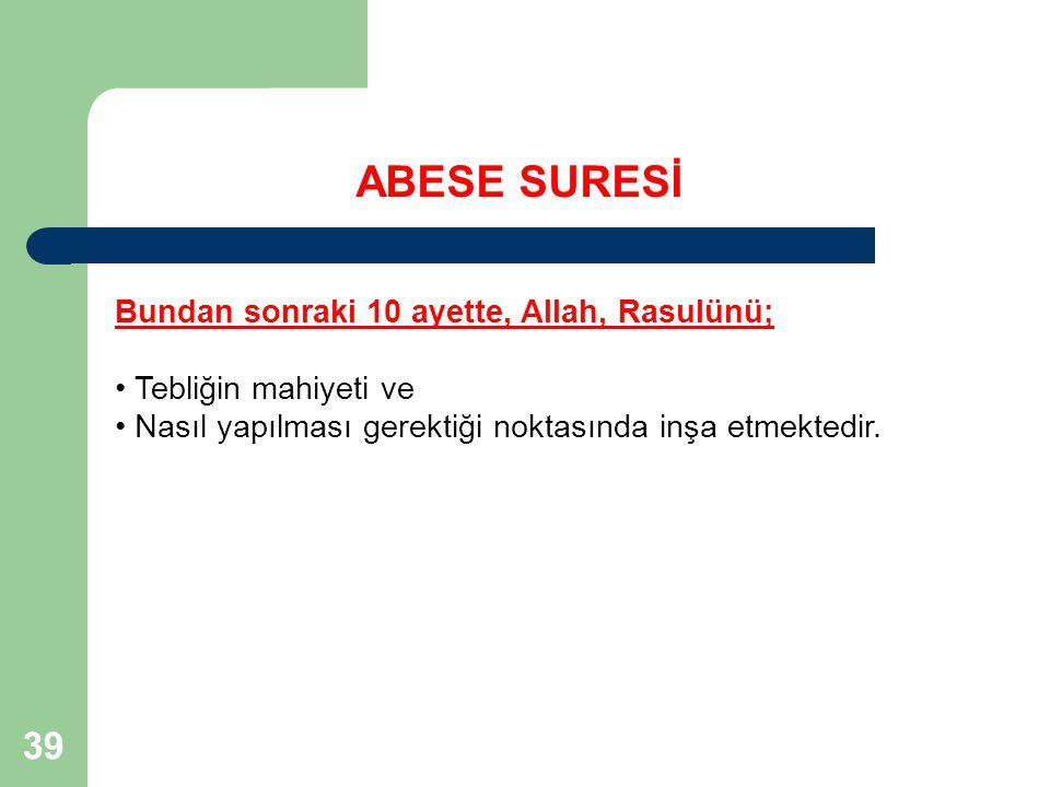 ABESE SURESİ 39 Bundan sonraki 10 ayette, Allah, Rasulünü;