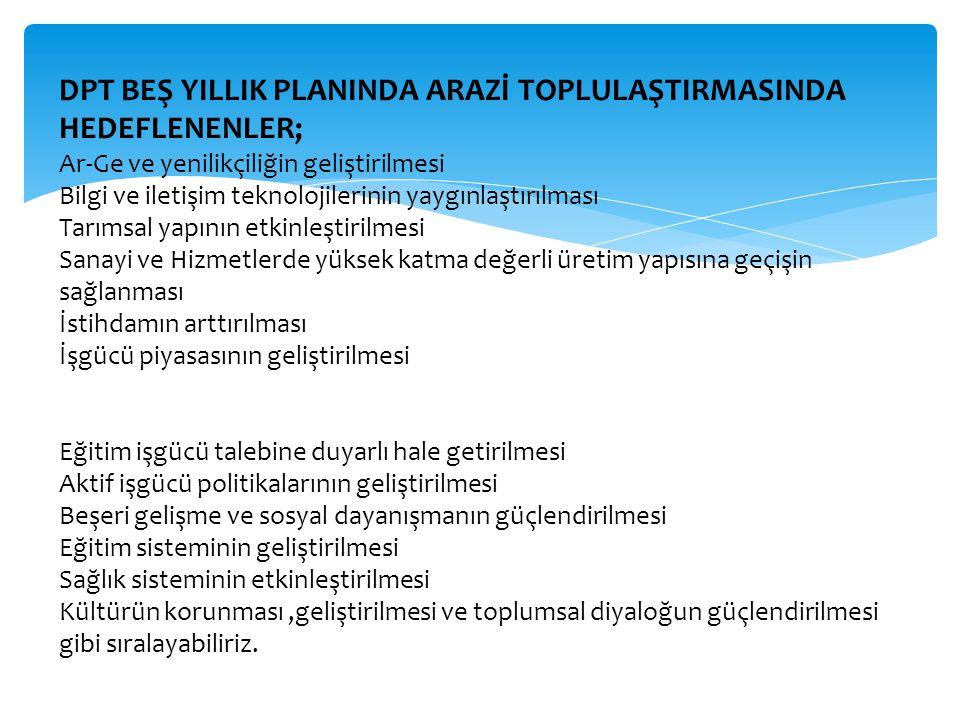 DPT BEŞ YILLIK PLANINDA ARAZİ TOPLULAŞTIRMASINDA HEDEFLENENLER;