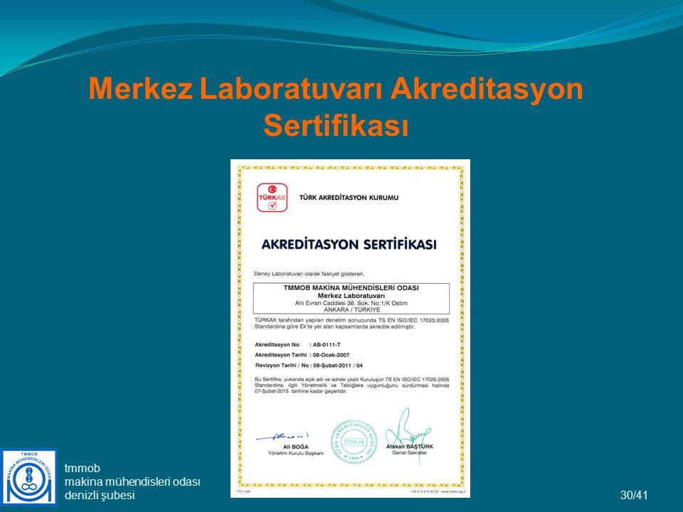Merkez Laboratuvarı Akreditasyon Sertifikası