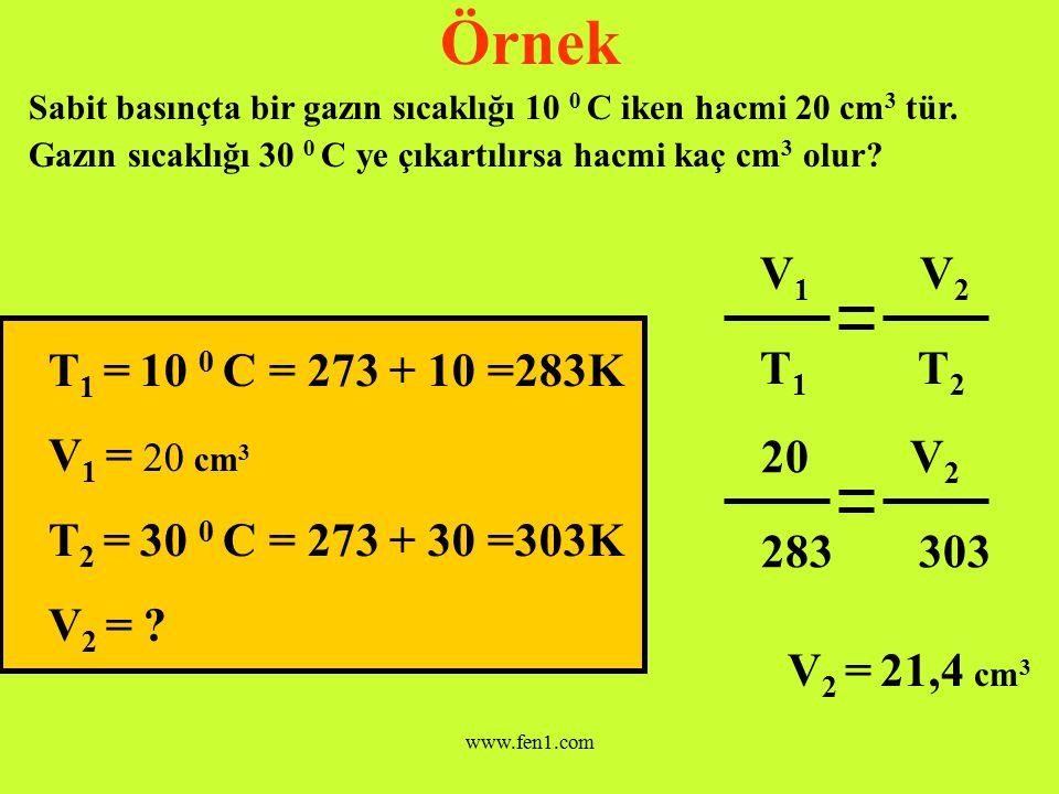 Örnek V1 V2 T1 T2 T1 = 10 0 C = 273 + 10 =283K V1 = 20 cm3