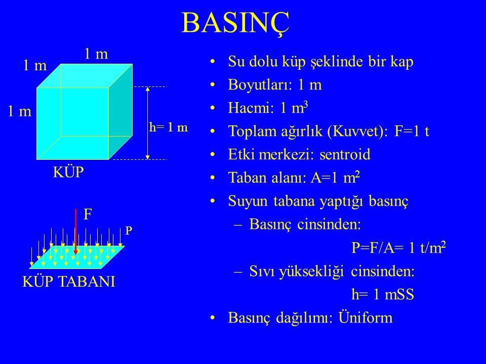 BASINÇ Su dolu küp şeklinde bir kap Boyutları: 1 m Hacmi: 1 m3
