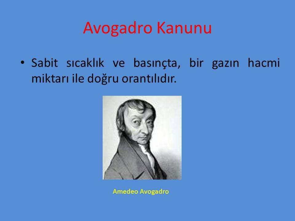 Avogadro Kanunu Sabit sıcaklık ve basınçta, bir gazın hacmi miktarı ile doğru orantılıdır.
