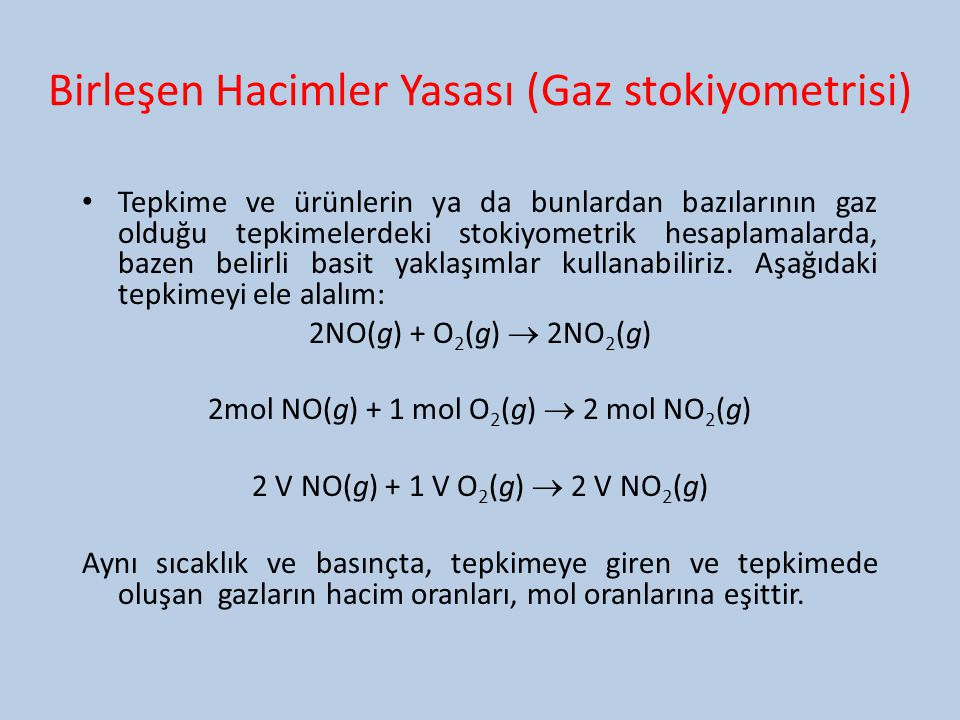 Birleşen Hacimler Yasası (Gaz stokiyometrisi)