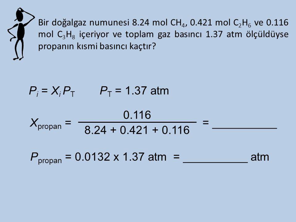 Pi = Xi PT PT = 1.37 atm 0.116 8.24 + 0.421 + 0.116 Xpropan =