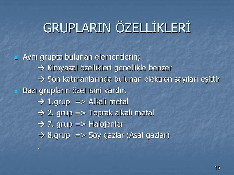 GRUPLARIN ÖZELLİKLERİ