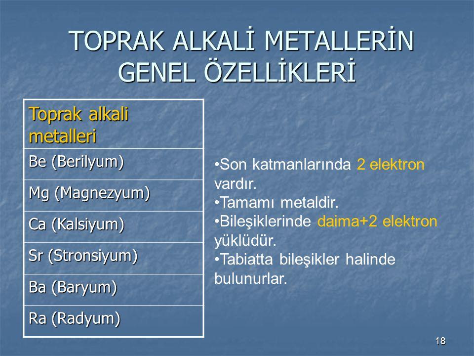 TOPRAK ALKALİ METALLERİN GENEL ÖZELLİKLERİ