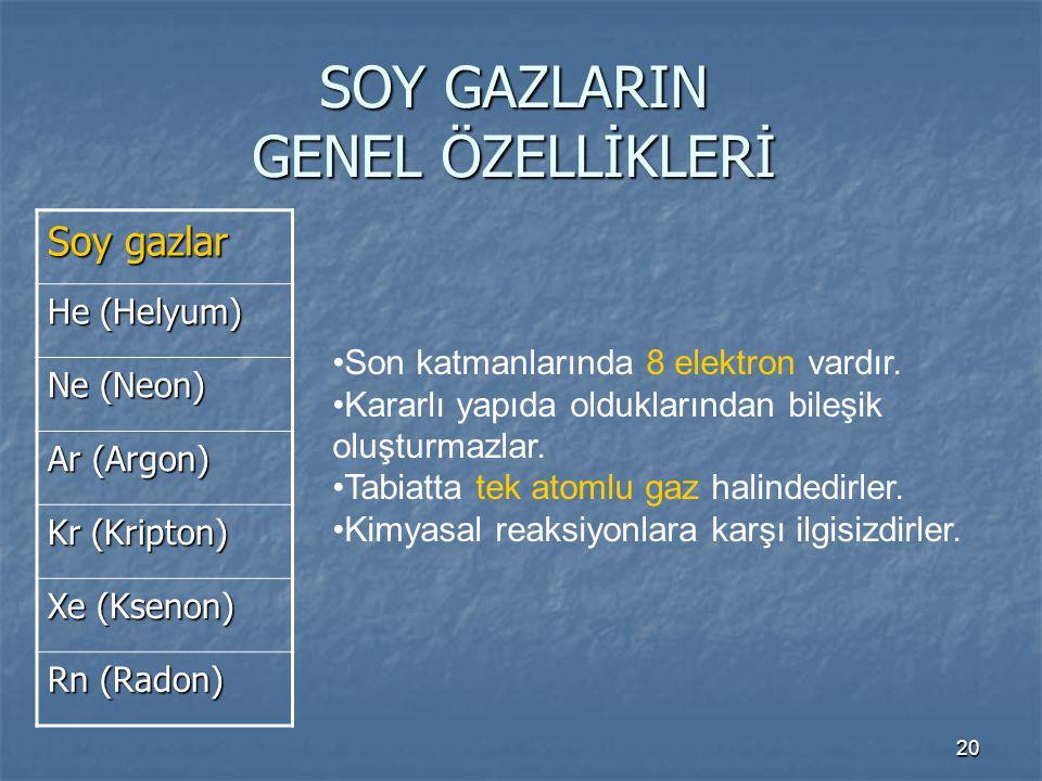 SOY GAZLARIN GENEL ÖZELLİKLERİ