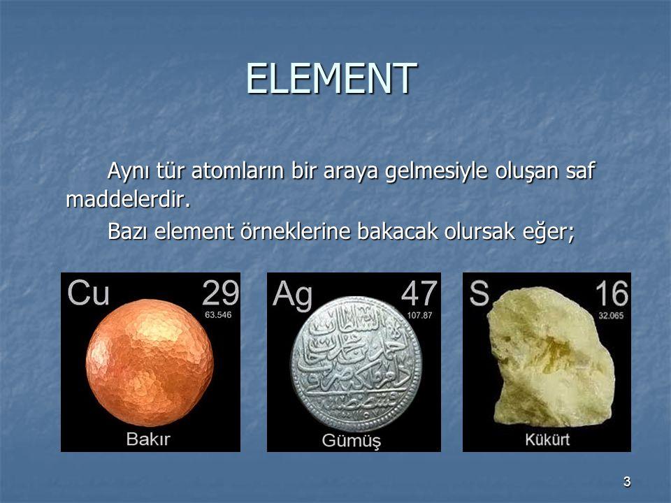 ELEMENT Aynı tür atomların bir araya gelmesiyle oluşan saf maddelerdir.