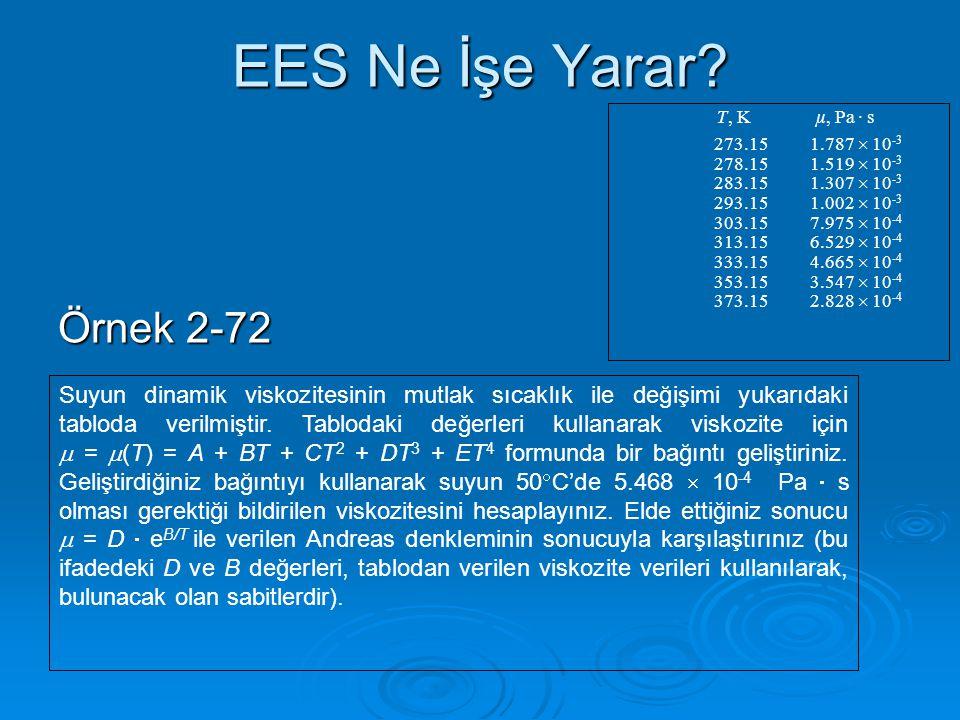 EES Ne İşe Yarar T, K µ, Pa · s. 273.15 1.787  10-3. 278.15 1.519  10-3. 283.15 1.307  10-3.