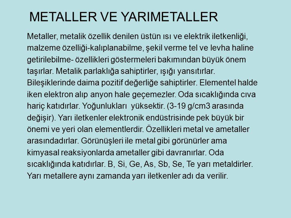 METALLER VE YARIMETALLER