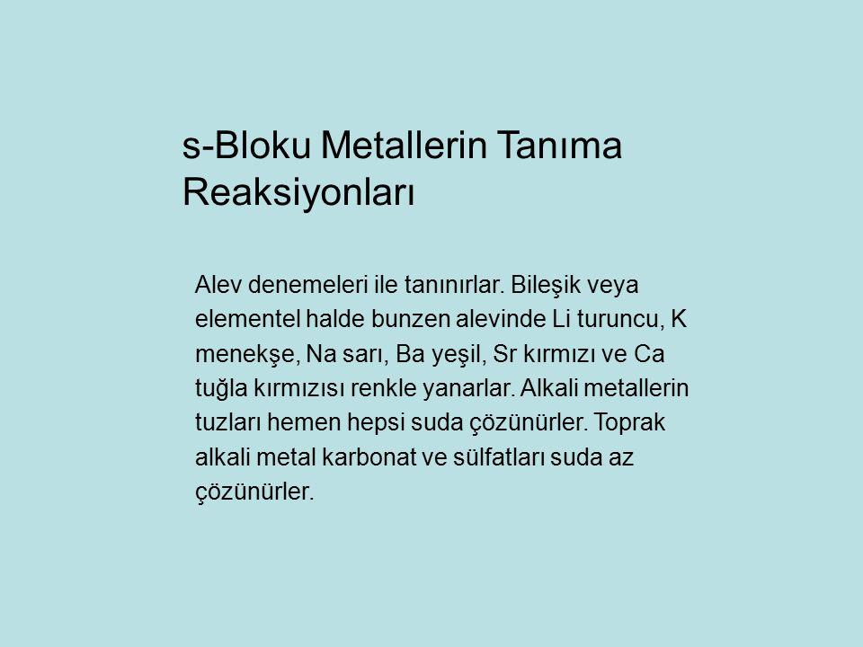 s-Bloku Metallerin Tanıma Reaksiyonları
