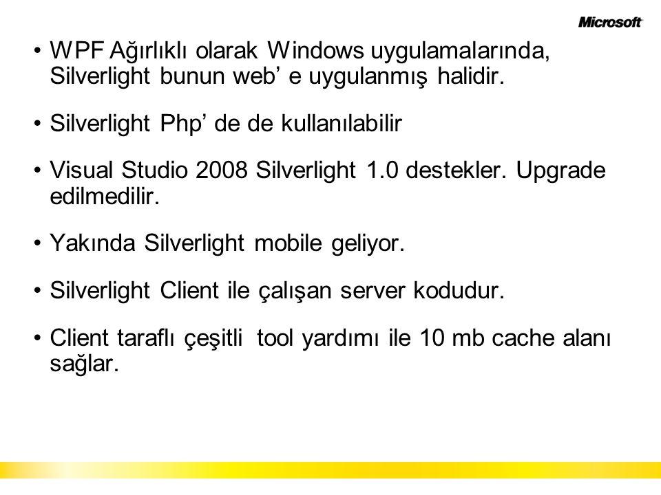 WPF Ağırlıklı olarak Windows uygulamalarında, Silverlight bunun web' e uygulanmış halidir.